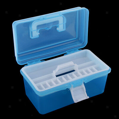 Plastic Storage Case Removable Tray Carry Handle Home Art Craft Tool Boxes