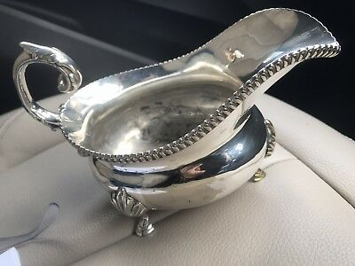 Solid silver Gravy Boat ( Hall Marked Stamped - See Photographs).