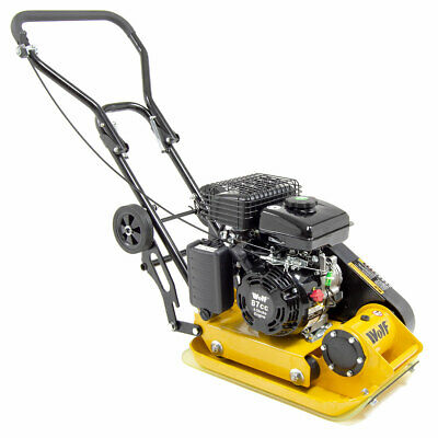 Wolf 8200N Petrol Compactor Plate with Wheels & Paving Pad 87cc Wacker Plate