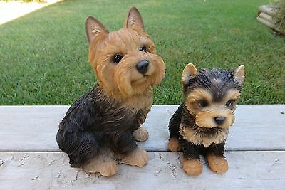 """Yorkshire Terrier Mom And Puppy Figurine Statue Resin Pet 9.25""""h  Black Brown"""
