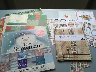 Bundle of Xmas themed Scrapbooking, Cardmaking Paper Including 'The Snowman'