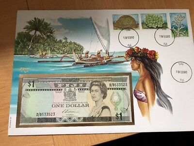 FIJI 1990 1 One Dollar with envelop FDC