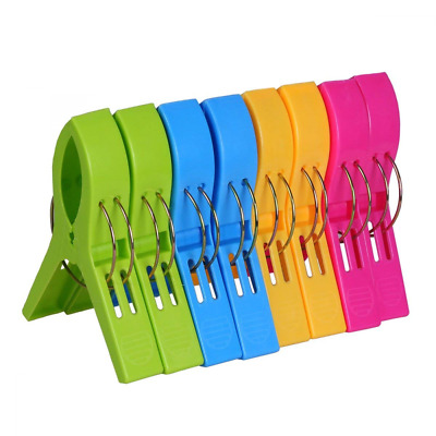 ECROCY 8 Pack Beach Towel Clips in Bright Colors - Jumbo Size Chair Clips- Keep