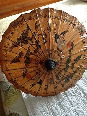 A Retro Beautiful Japanese Oriental Bamboo Hand Painted Cranes Unbrella/Parasol