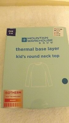 MOUNTAIN WAREHOUSE SNOW Thermal Base Layer Kid's Round Neck Top Size 5-6yrs BLUE