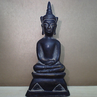 Antique Phra Chai Ngang King Emperor Khmer Old Image Buddha Figure Statue Rare