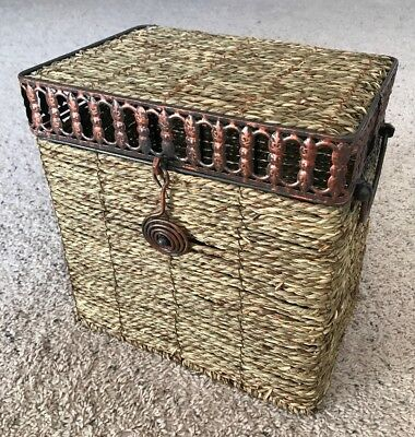 Small Woven Wood Basket With Lid, Handles, And Latch