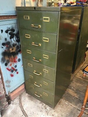 Excellent Vintage Filing Cabinet. Six Drawer, Brass Fittings