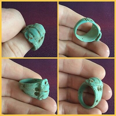 Rare ancient Egyptian blue faience scarab beetle ring , 300 bc