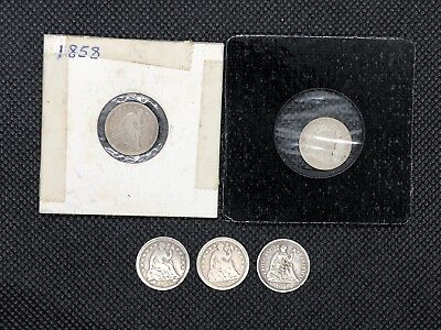 Lot of 5, Half Dime, Seated Liberty, Silver Coins, 1855 1856 1858 (2) 1868-S