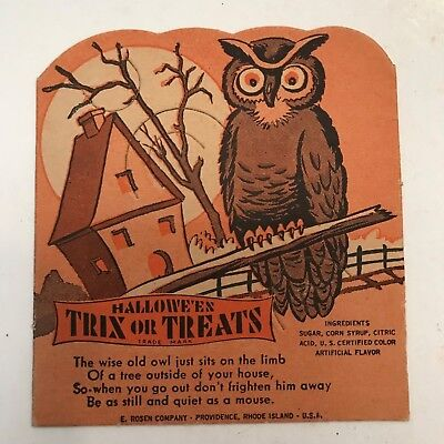 Old Vintage Halloween Cardboard Owl Sucker Card Candy Container Holder Rosen 50s