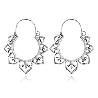 Women Vintage Bohemian Boho Charm Alloy Hollow Heart Punk Dangle Earrings #1