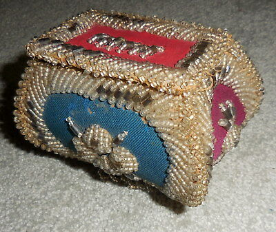 Vintage Native American Iroquois Fancy Beadwork Whimseybox Bag Purse