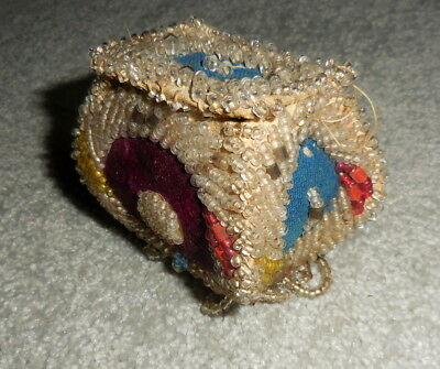 Ca. 1880 small Vintage Native American Iroquois Beadwork Whimsey Box Bag Purse