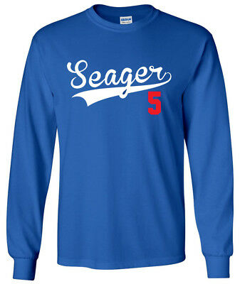 SALE LONG SLEEVE Shirt Corey Seager Los Angeles Dodgers Logo YOUTH MEDIUM