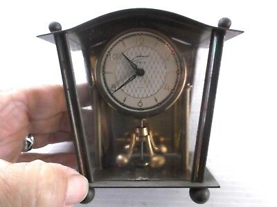 Mid Century Schmid 8 Day Carriage Anniversary Mantal Clock Germany Works Wind Up