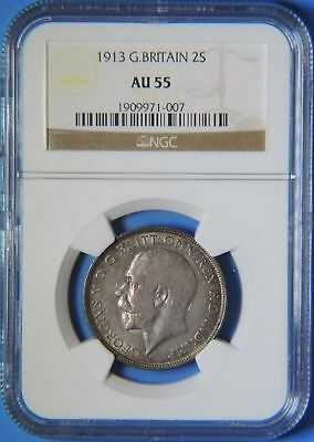 1913 Great Britain George V Silver 2 Shillings One Florin Coin NGC AU55