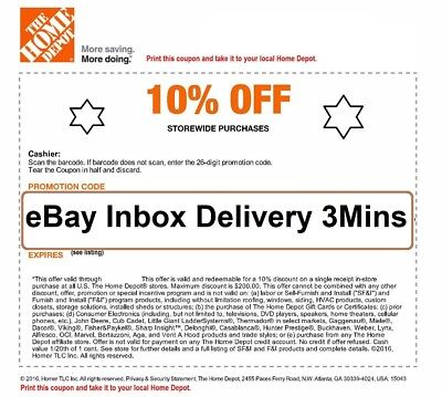 ONE-1X- Home Depot 10% OFF Coupon - Instore ONLY Save up to $200-SENT_FAST-3mins