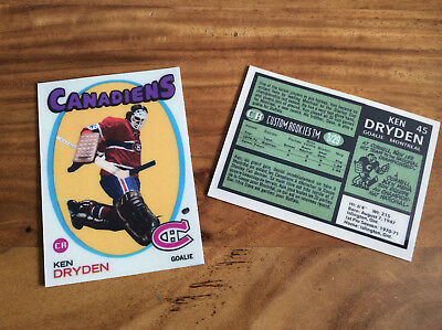 Custom Ken Dryden 1971-72 Style RC High Quality card only 29 made!!!