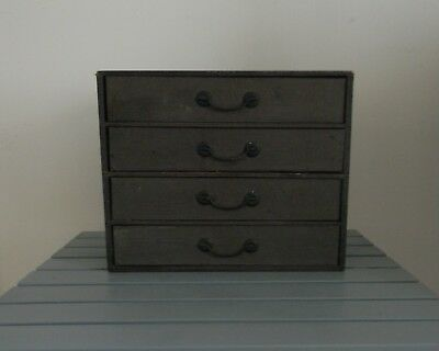 Small Wooden Antique Bankers Desktop File Box With Drawers