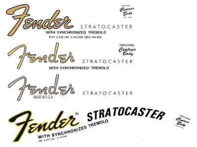 Set Décals Logo Fender Stratocaster  Waterslide