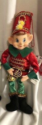 """NEW CHRISTMAS PIXIE ELF 10"""" WIREFRAME DOLL GREEN RED w/HORN - SGT PEPPERS STYLE"""