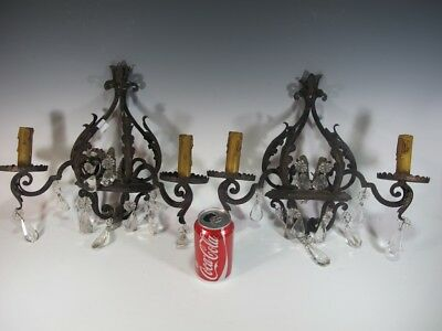 Antique pair of hollow wrought iron & crystals sconces # 10864