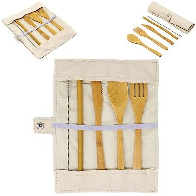 Bamboo Cutlery Set with Carry Pouch / Reusable / Eco Friendly / Wooden Set #E6