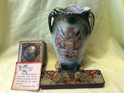 Militaria: WWI collectable souvenirs:  China vase and two tins