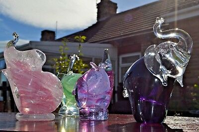 Collection of 3 glass Eliphants and 1 mouse