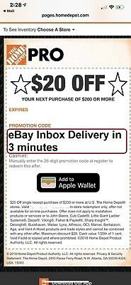 One~1x~ Home Depot $20 off $200 In-Store Only-1Coupon --SENT_-FAST-3Mins--