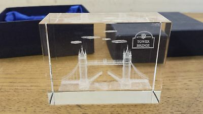 London Tower Bridge Boxed Laser 3D Etched Crystal Ornament Gift Grade A