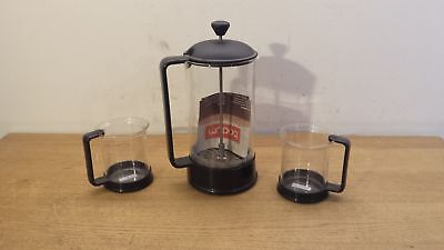 NEW Bodum  Black Cafetiere Coffee Maker French Press 8 Cup 1L & 2 Glasses