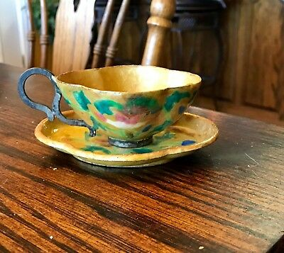 Antique Chinese Cloisonne and Enamel Tea Cup and Saucer RARE Yellow