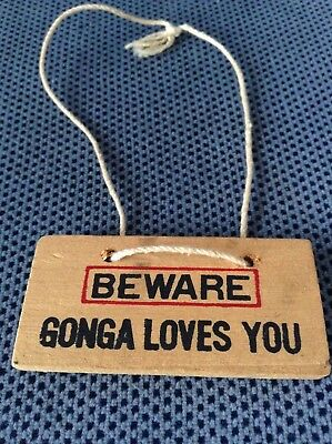 "Vintage ""Beware Gonga Loves You"" SIGN ONLY 1978 Russ Berrie from stuffed gorilla"