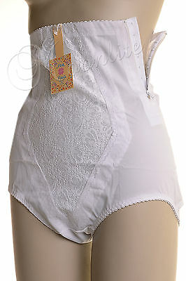 Vintage White High Waist Brief Style Panty Girdle Lingerie Side Zipper Small 567