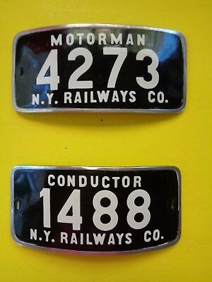 New York Railway 1920s Conductor and Motorman hat badges