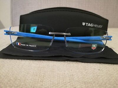 TAG HEUER Reflex TH 3942 010 Blue Rimless Authentic New Eyeglasses Size 60-15