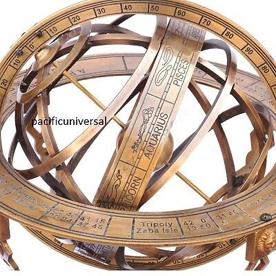 "Brass Armillary 18"" Large Engraved Nautical Sphere Globes -World With Compass."
