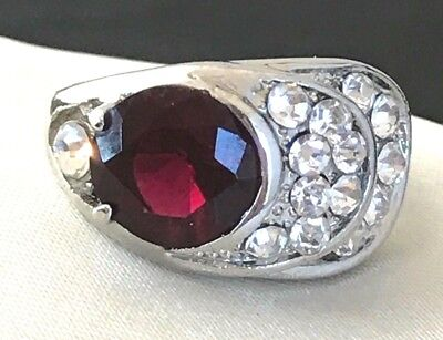 Vintage Cocktail Ring Garnet Glass Crystal Accents Art Deco Style Chic Size 9 1f