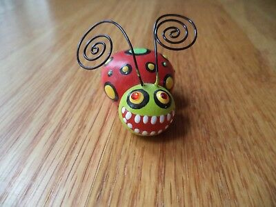 Unknown Maker Scary LADYBUG Figurine Paperweight - Handpainted - signed JF