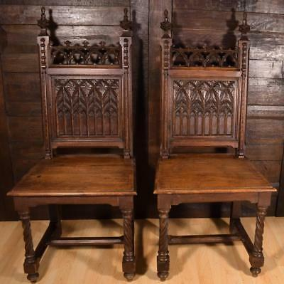 Pair of Antique Gothic Revival Dining/Side Chairs in Solid Oak Wood