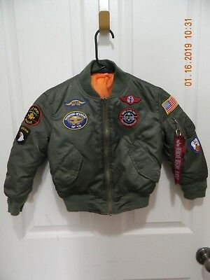 Alpha Industries Kids MA-1 Flight Jacket with Patches Sage Green Size 4T