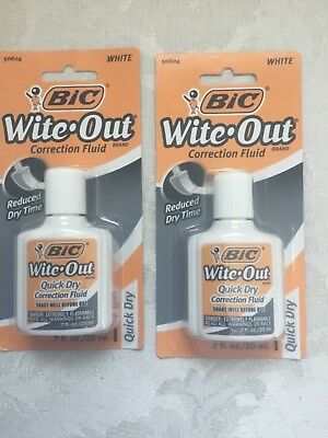 Two (2) BIC Wite-Out Quick Dry Correction Fluid White Out Foam Brush .7 oz