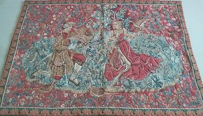 "Antique 19c Aubusson Style French Tapestry 50""x70""(cm127x178) Beautiful  color"