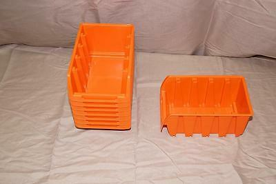 "Set of 8 Orange Storage Bins - 4""W x 6""L x 3""H"