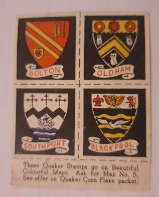 QUAKER CORN FLAKES *TOWN SHIELD MAP STAMPS* 1 card x 4 stamps *Good*