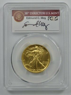 2016 W PCGS SP69 100th Anniv. 1st Strike Gold Walking Liberty Half Dollar SIGNED
