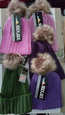 Job Lot Wholesale Brand New Winter Hats with Faux Fur Pom Pom  x 5   L118