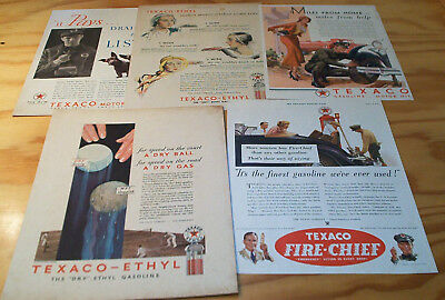 1930s LOT TEXACO Motor Oil ad pages For Your Ford Large Format
